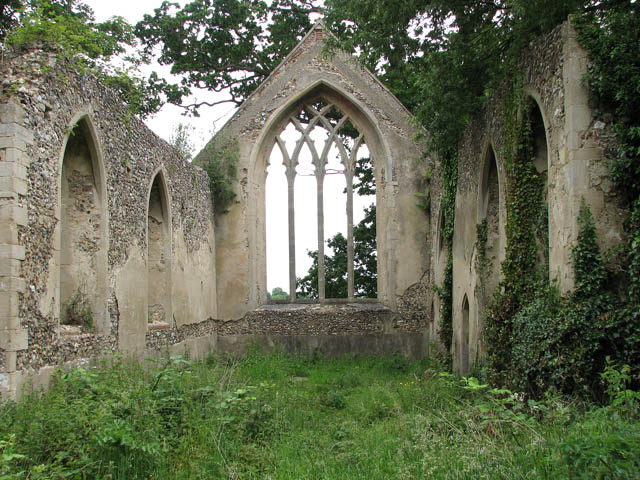 The ruined church of St Mary - view east