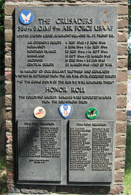 386th B.G.(M), 9th Air Force USAAF Memorial, Left Face Panel, Easton Lodge/Great Dunmow, Essex