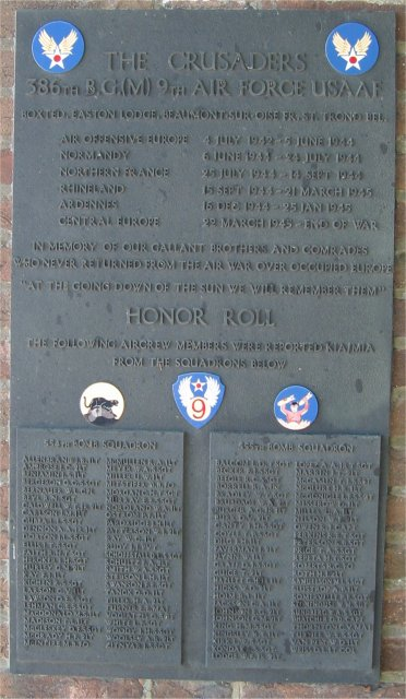386th B.G.(M), 9th Air Force USAAF Memorial, Right Face Panel, Easton Lodge/Great Dunmow, Essex