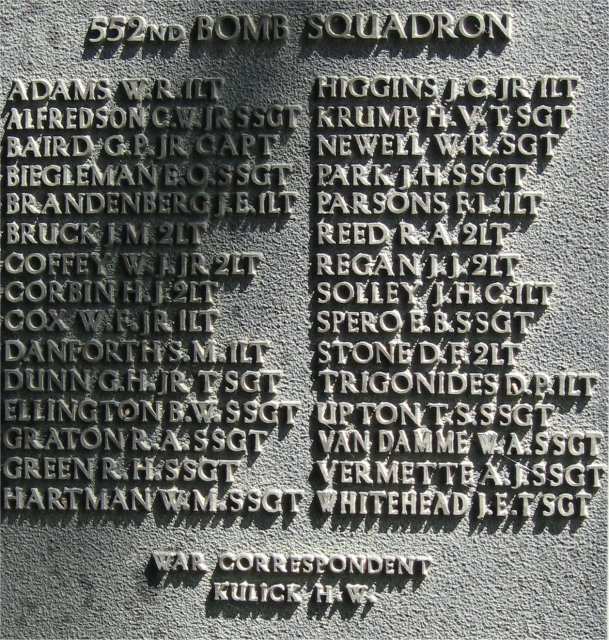 386th B.G.(M), 9th Air Force USAAF Memorial, 552nd Bomb Squadron Honor Roll, Easton Lodge/Great Dunmow, Essex