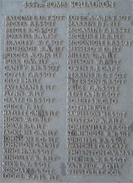 386th B.G.(M), 9th Air Force USAAF Memorial, 555th Bomb Squadron Honor Roll, Easton Lodge/Great Dunmow, Essex