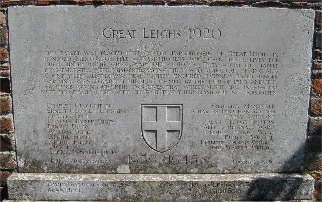 War Memorial, St Mary the Virgin Church, Great Leighs, Essex