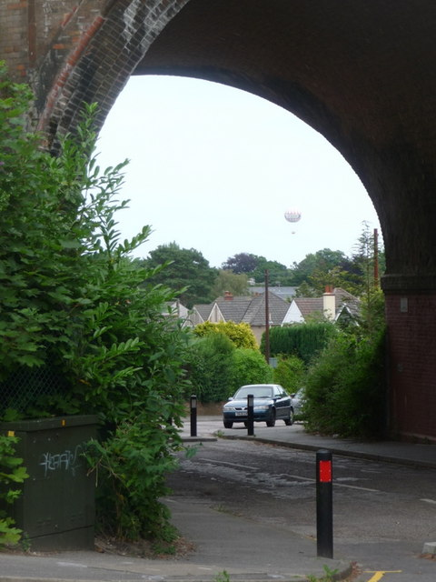 Branksome: balloon view through Coy Pond Road arch