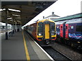 SX4755 : A train for Waterloo, stands at Plymouth railway station by Roger Cornfoot