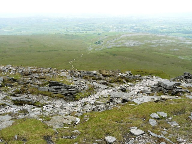 View from Ingleborough to Horton in Ribblesdale