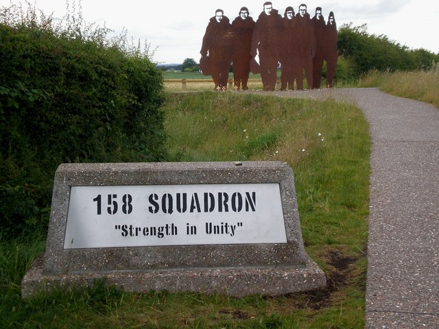 Metal sculpture memorial to RAF's 158 Squadron, Bomber Command, Lissett