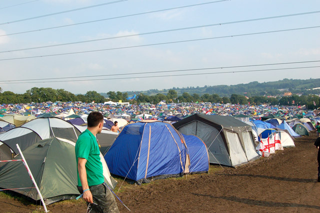 Glastonbury Festival - camping under power lines east of Pyramid Stage area