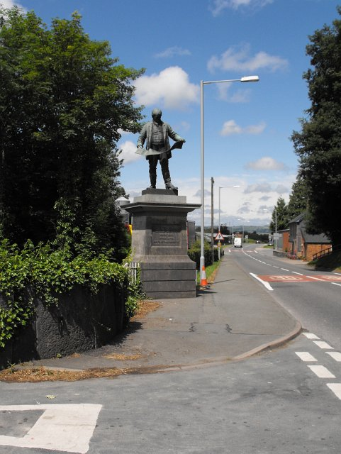 David Davies statue beside the A470