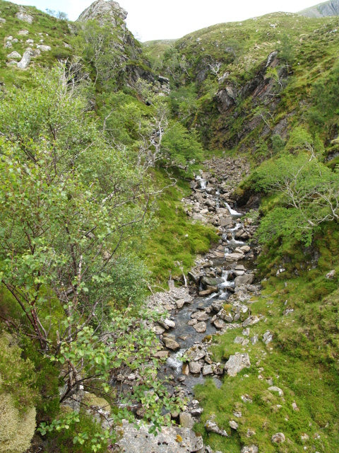 Looking up the gorge of the Allt an Fhuar-thoill Mhor