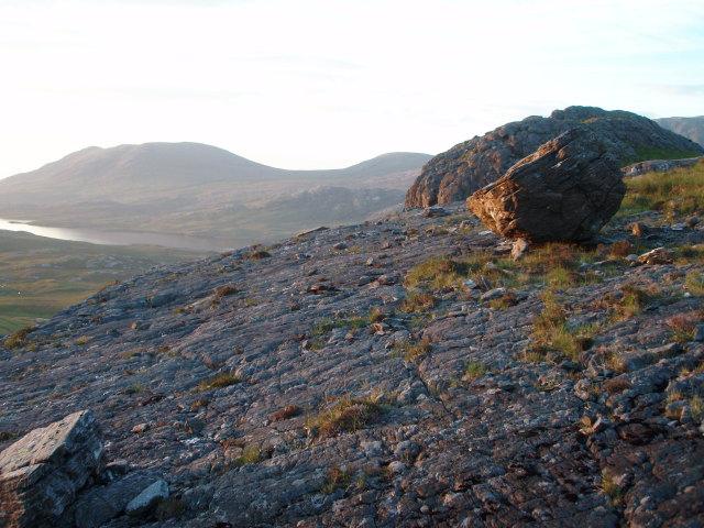 Erratic, evening light, NW ridge, Meall Mheinnidh