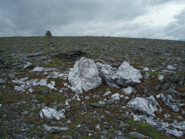 Quartz boulders, summit slopes, Beinn Lair