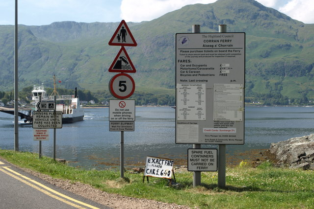 Information before driving onto the Corran Ferry