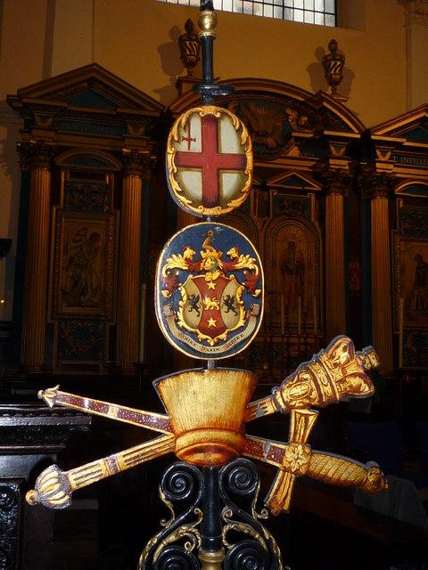St Clement Eastcheap - sword rest - front, close-up