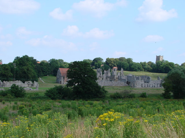 Castle Acre Priory, view from south