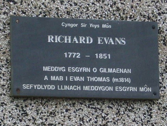 Memorial to Richard Evans, the Bonesetter