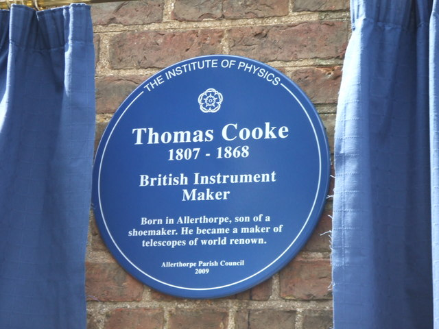 Memorial plaque to Thomas Cooke