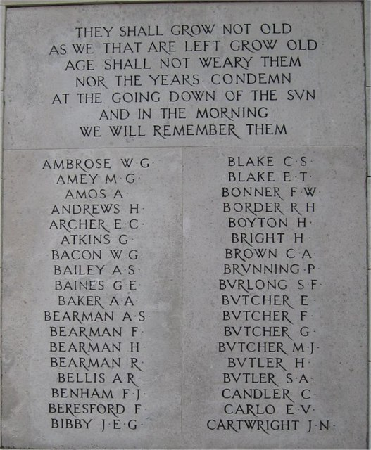 War Memorial, Public Gardens, Bocking End, Braintree, Essex, Panel 1