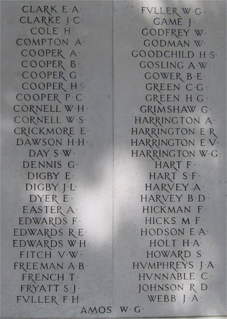 War Memorial, Public Gardens, Bocking End, Braintree, Essex, Panel 2