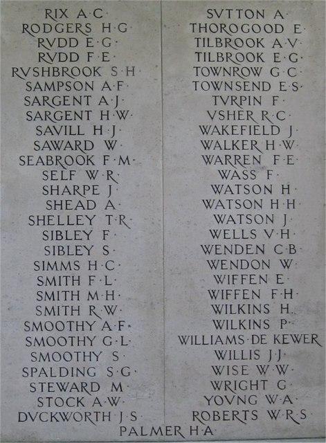 War Memorial, Public Gardens, Bocking End, Braintree, Essex, Panel 4