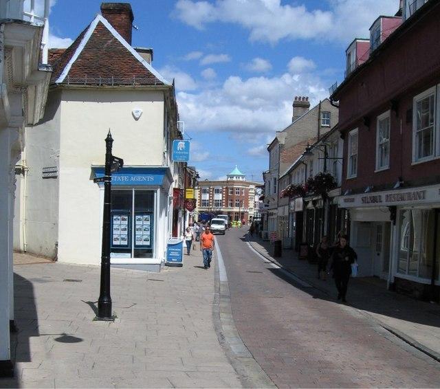 High Street, Braintree at the Sandpit Lane/St. Michaels Lane junction