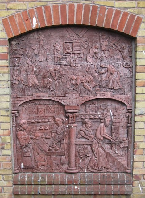 Steven Sykes Sculptured Panel, Corn and Bread, Sainsbury's, Drury Lane, Braintree