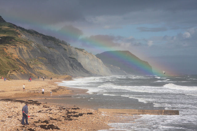 Rainbow at Charmouth Beach