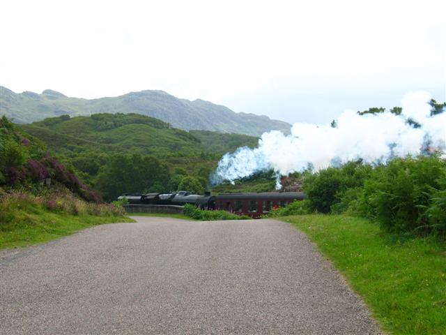 Steam train leaving Morar