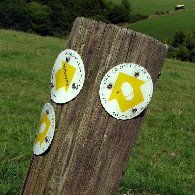 Waymarkers on a post, South Downs Way
