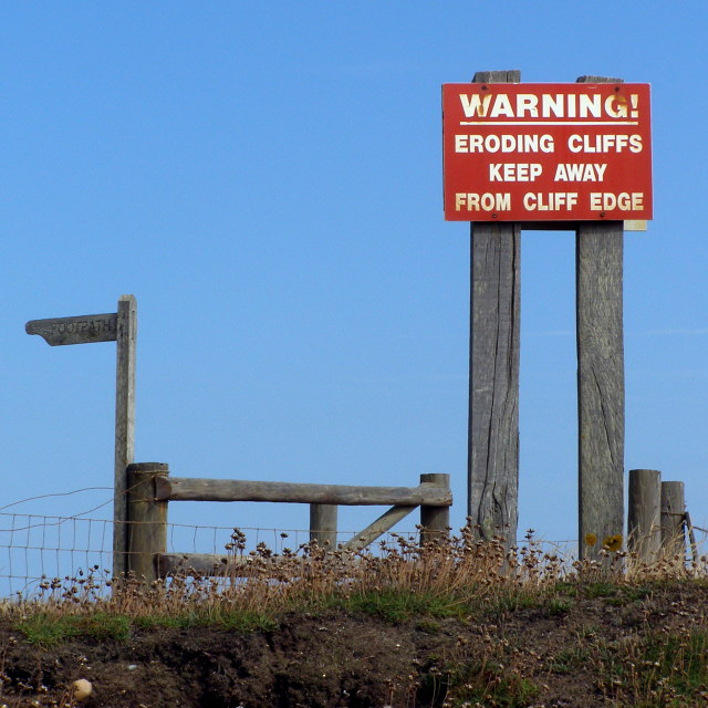 Signs on Beacon Cliff, Barton on Sea