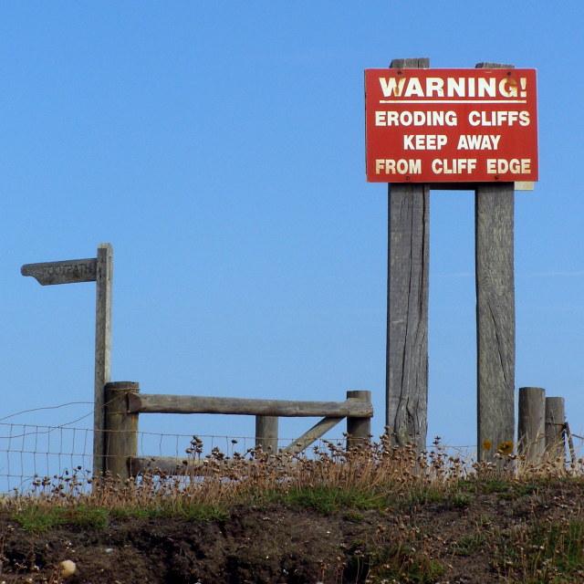 Signs on Beacon Cliff, Barton on Sea