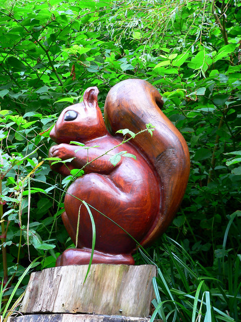 Carved Red Squirrel