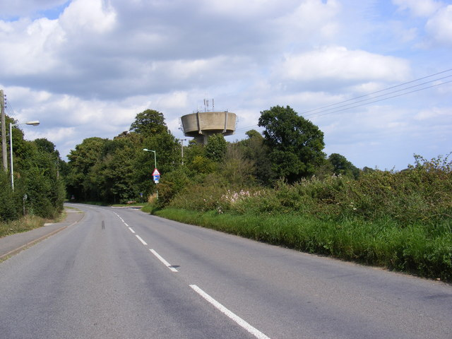 B1069 Haylings Road & Leiston Water Tower in Goldings Lane