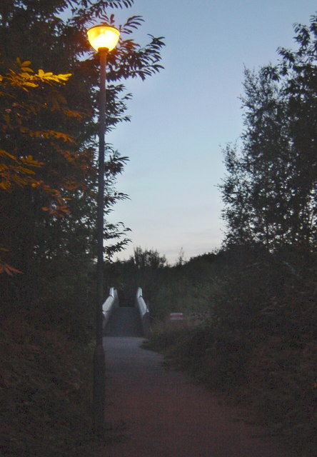 Lamplit Footpath to the Footbridge