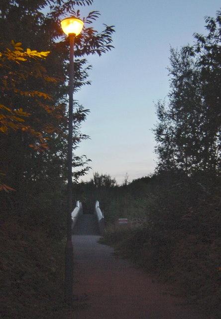 Lamplit Footpath to the Footbridge