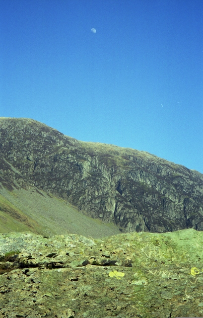 Half Moon above Yew Crag seen from Honister Pass