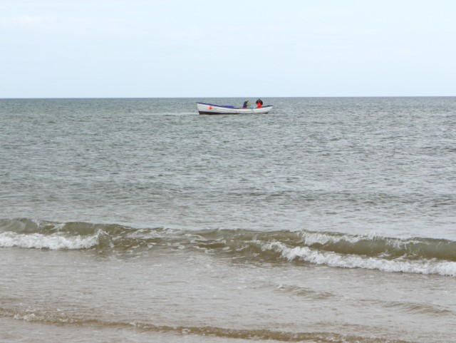 Coble boat net fishing off Druridge Bay