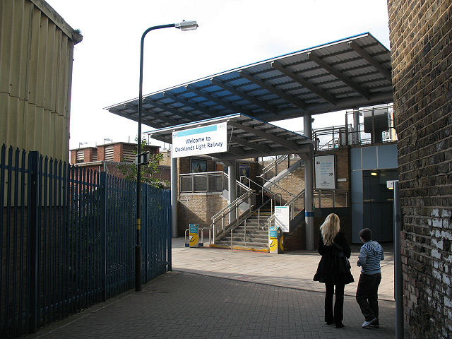 Entrance to Greenwich DLR station