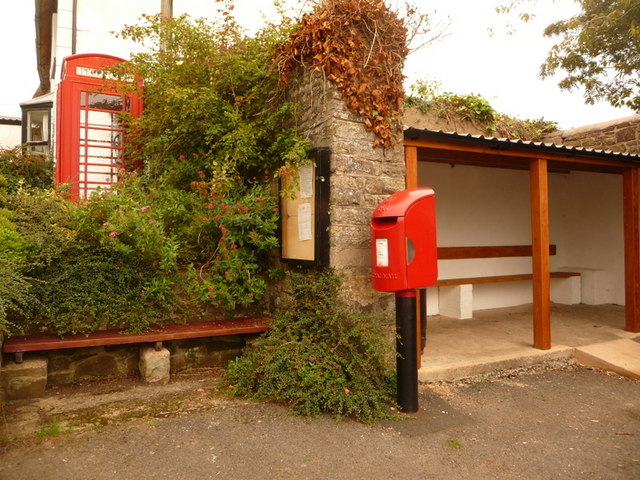 Zeal Monachorum: postbox &#8470; EX17 106 and phone