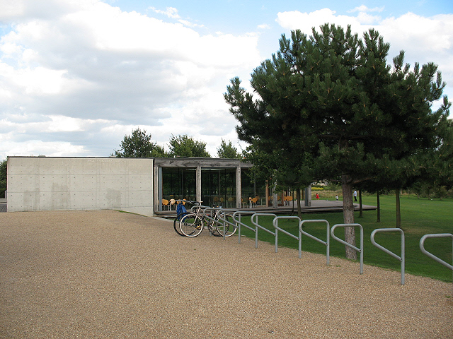 Cafe and cycle parking, Thames Barrier Gardens