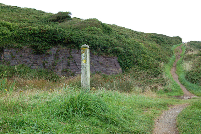 Waymark post at coastpath junction