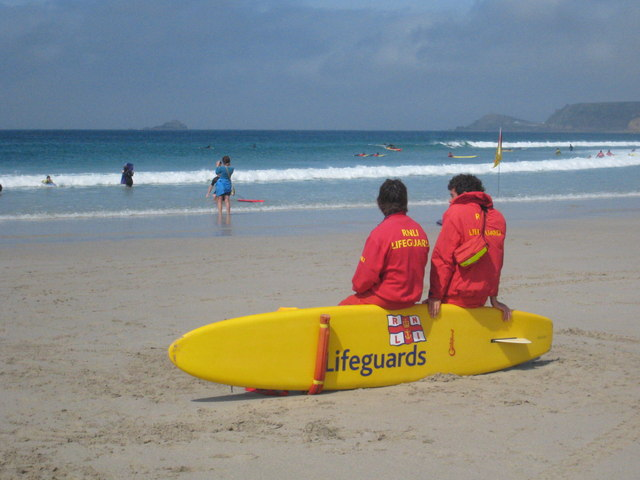 18f07ff3806 RNLI lifeguards on the beach at Sennen... © Rod Allday cc-by-sa 2.0 ...