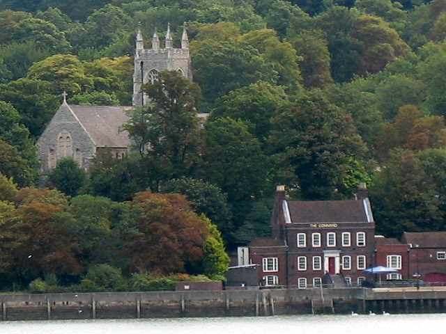 St Mary's old church, Chatham from across the river