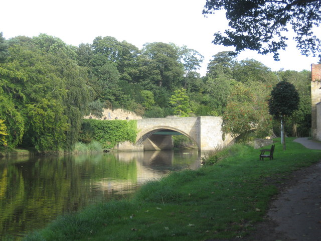 The old bridge at Warkworth over the river Coquet