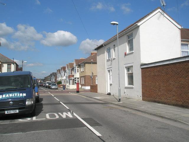 Looking northwards along Randolph Road towards  a postbox