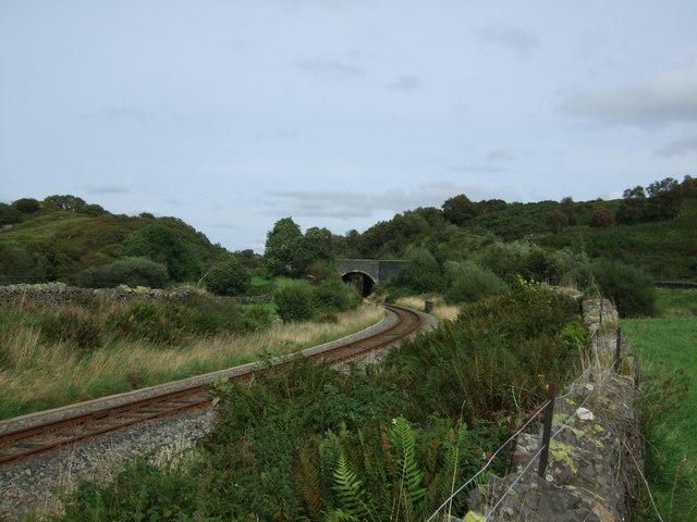 Railway track at Roman Bridge (Pont Rufeinig) to A470 road bridge
