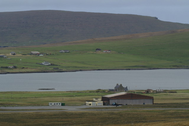 Baltasound airport from the Hill of Colvadale