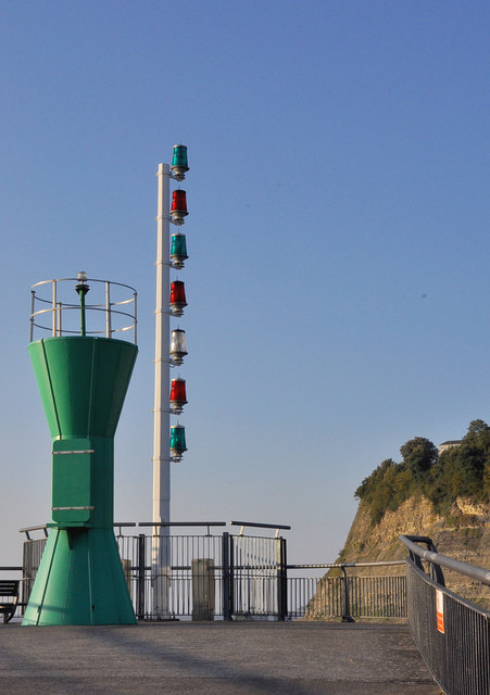 Navigation beacon and lock control lights - Cardiff Bay
