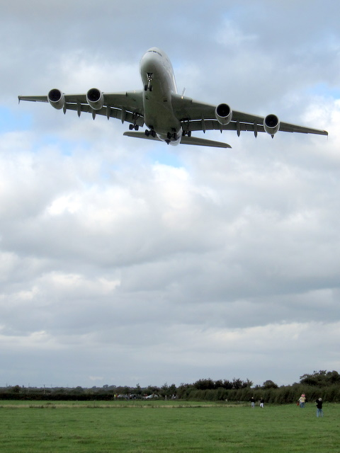 Airbus A380 approaching Hawarden Airport