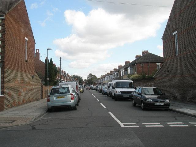 Looking from Kensington Road eastwards along Winton Road
