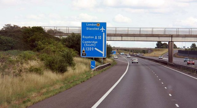 Approaching exit for A1309